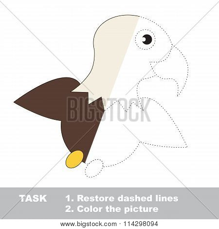 Eagle To Be Colored. Vector Trace Game.