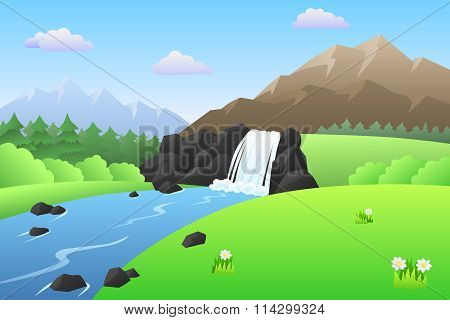 River waterfall mountains summer landscape day illustration vector