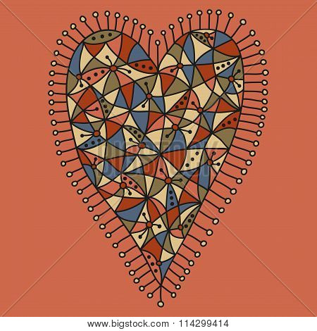Decorative patchwork heart with a colorful desaturated pattern on a pink background