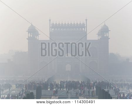 View From The Taj Mahal In Agra, Uttar Pradesh, India Over The Tourist Crowds Starring Towards The I