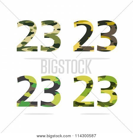 Set Of 23 Numbers In A Different Camouflage Coloring