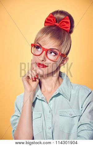 Beauty fashion business woman, red glasses. Pinup