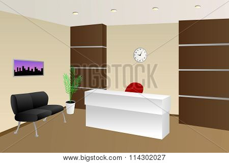 Interior office room reception beige chair cabinet illustration vector