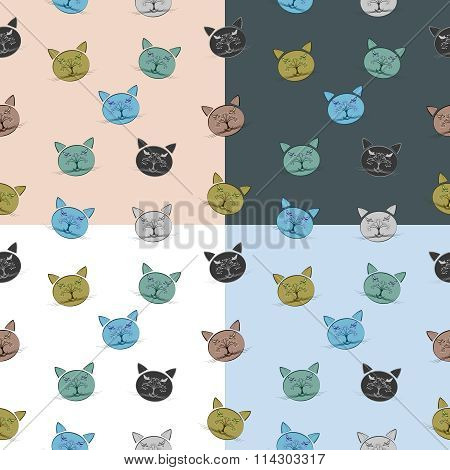 Seamless cat pattern with muzzle composed of tree and bird eleme