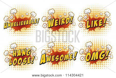 Wordings on cloud explosion illustration