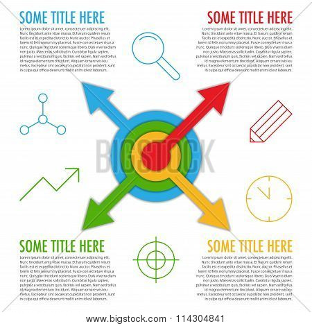 Infographic Template With Arrows From Center And Icons