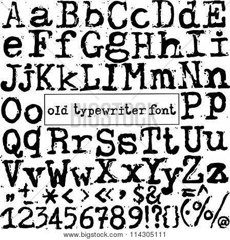vector old typewriter font
