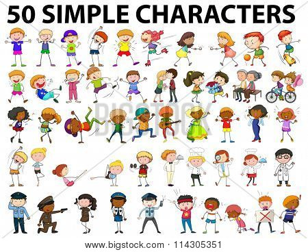 Fifty simple characters young and old illustration