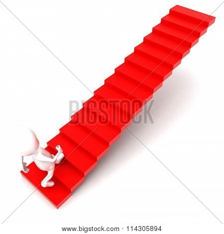 3D Man Walking Upward Using Stairs Concept