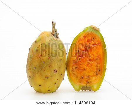 prickly pear, Indian fig, Indian pear, barbary fig, tuna, cactus pear isolated on white