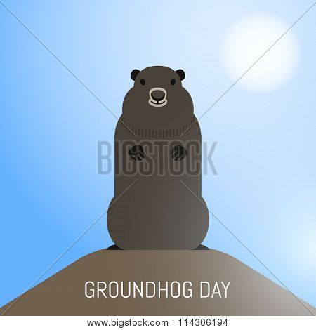 Groundhog Day February 2Nd Vector Illustration With Cute Groundhog