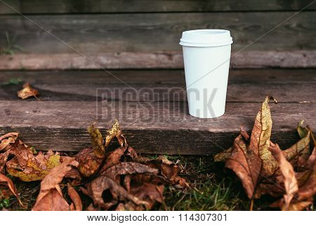 White Paper Coffe Cup With Brutal Autumn Leaves