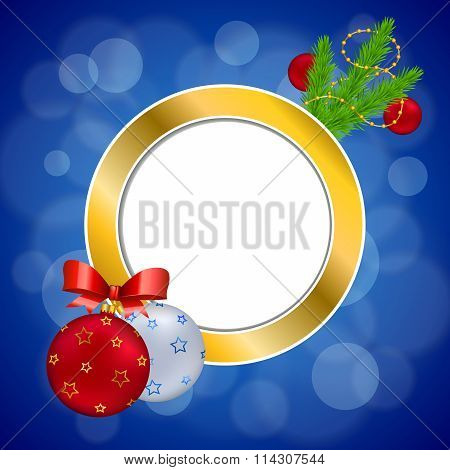 Background abstract blue new year Christmas ball red yellow gold circle frame illustration vector