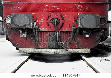 Train Wagon Links In Winter Time