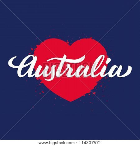 'australia' Handwritten Text On Red Heart, Brush Pen Lettering, T-shit, Poster, Logo Design, Vector