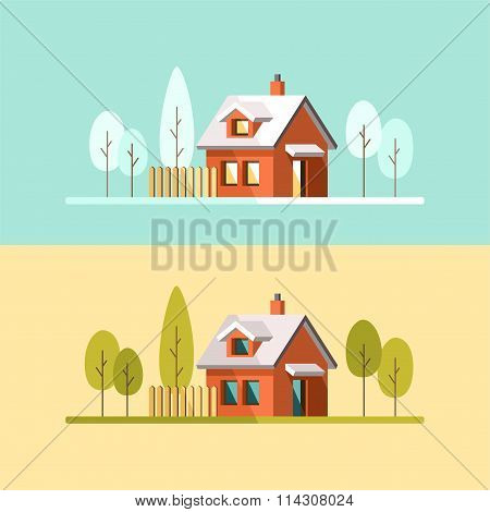 Winter House Summer House Family Suburban Home