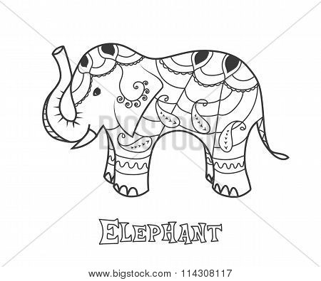 Indian elephant.  Hand drawn stylized elephant with decorative tribal ethnic ornament