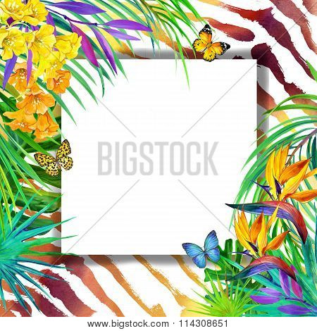 Wild nature design. Watercolor tropical background with palm leaves, unusual flowers and butterfly o