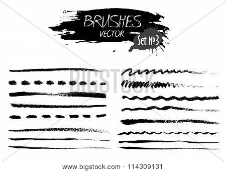 Set Three Of Grunge Vector Ink Strokes Or Brushes