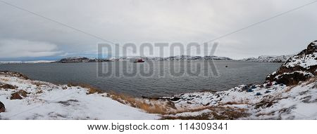 Panoramic Views Of The Bay In The Barents Sea, The Village Of Teriberka, Russia