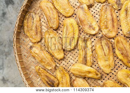 sun-dried banana on the wooden sieve