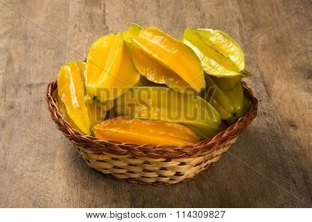Some Caramboles In A Basket Over A Wooden Surface