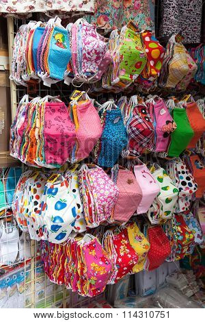 Colorful facemasks of asia