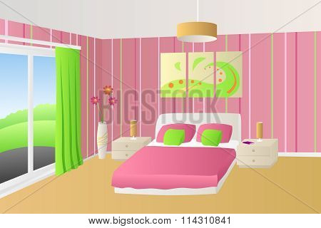 Modern interior bedroom beige pink green bed pillows lamps window illustration vector