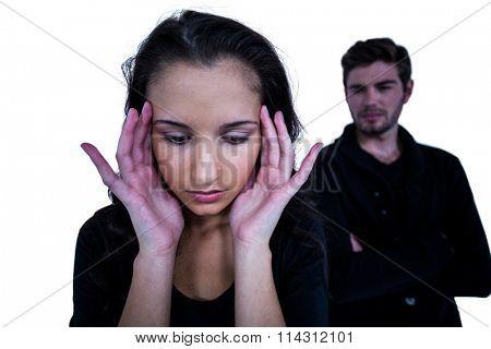 Sad woman with man on white background
