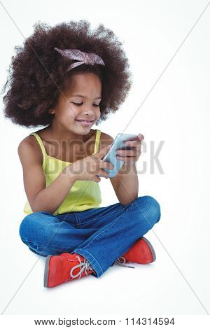 utee girl sitting on the floor using smartphone on white screen