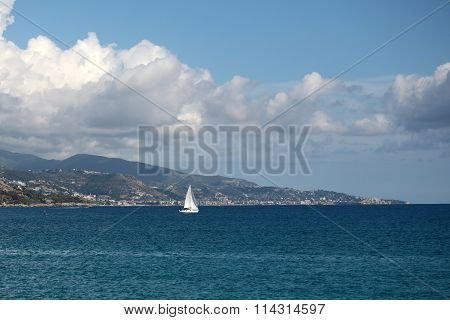 Beautiful Seascape And Sailing Boat