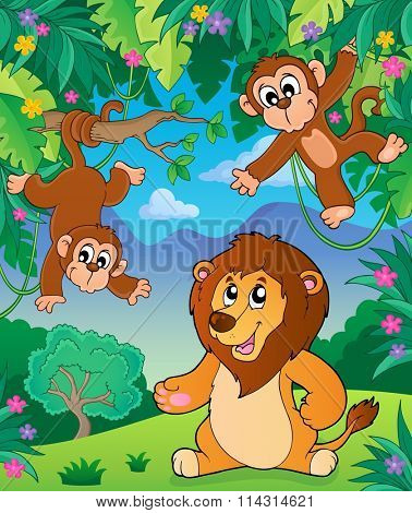 Animals in jungle topic image 5 - eps10 vector illustration.