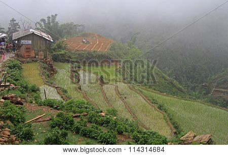 view of village CatCat with rice terraces