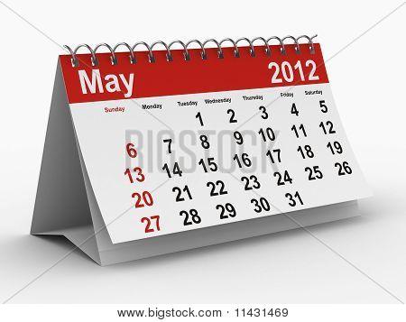 Calendario del año 2012. Mayo. Aislado de la imagen 3D