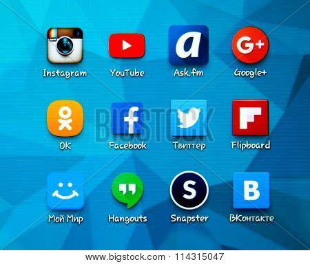 Popular Social Media Icons On The Screen Of Smartphone