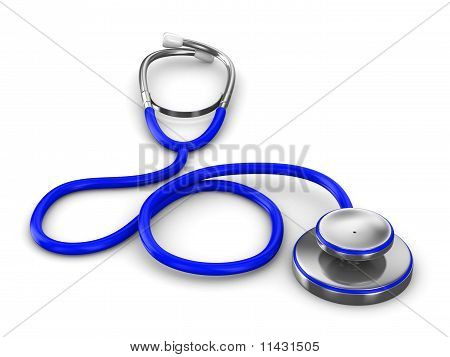 Stethoscope On A White Background. Isolated 3D Image