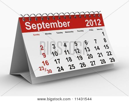 2012 Year Calendar. September.