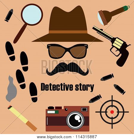 Private detective vector set.