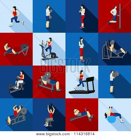 Gym Workout People Flat Set