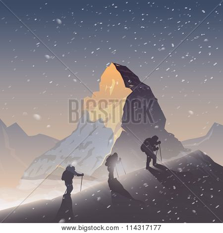 Vector background. Climbing, Trekking, Hiking.