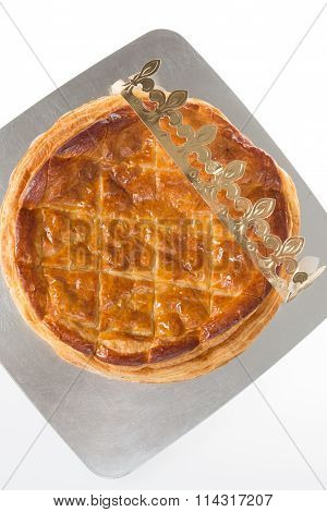 Epiphany Twelfth Night Cake, Almond Galette Des Rois, Cake Of The Kings, On Dark Wood Rustic Backgro
