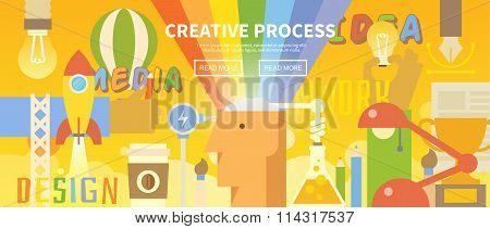 Vector web banner. Creative process.