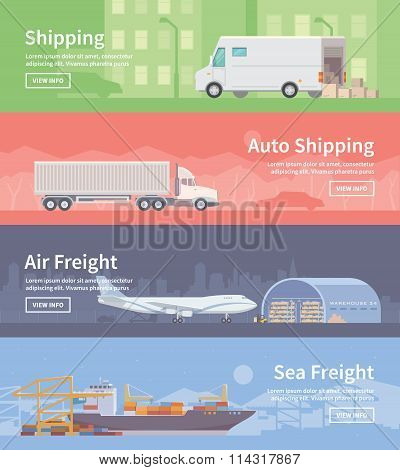 Flat vector web banner. Logistics. part 1