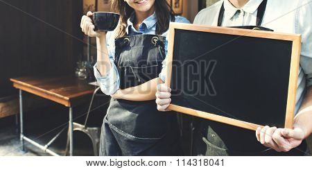 Cafe Barista Blackboard Waiter Waitress Cheerful Concept