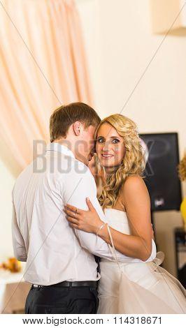 Happy bride and groom on their  wedding reception