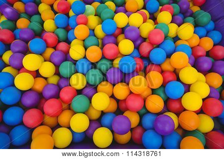View of colored sponge balls