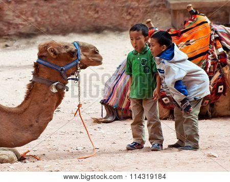Boys tease camels in Petra, Jordan