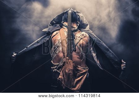 Gas Mask Man With Smoke