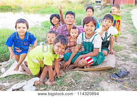 YANGON, MYANMAR - November 25, 2015: Traditional family in Myanmar Asia