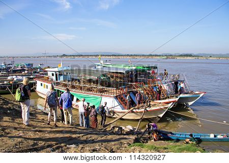 MANDALAY, MYANMAR - November 17, 2015: The Irrawaddy River or Ayeyarwady River is a river that flows from north to south through Myanmar.